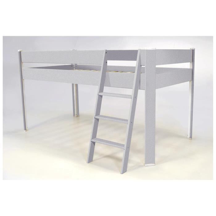 lit compact sur lev enfant gris aluminium achat vente lit complet lit compact sur lev. Black Bedroom Furniture Sets. Home Design Ideas
