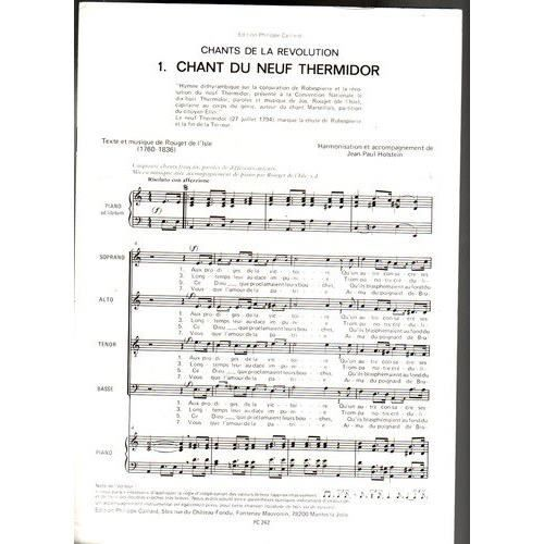 Chant du neuf thermidor partition piano satb achat for Achat du neuf