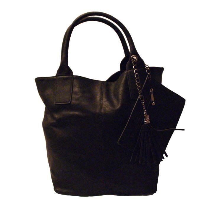 Sac main noir simili cuir pompon et pochette i noir - Pochette rangement pour sac a main ...