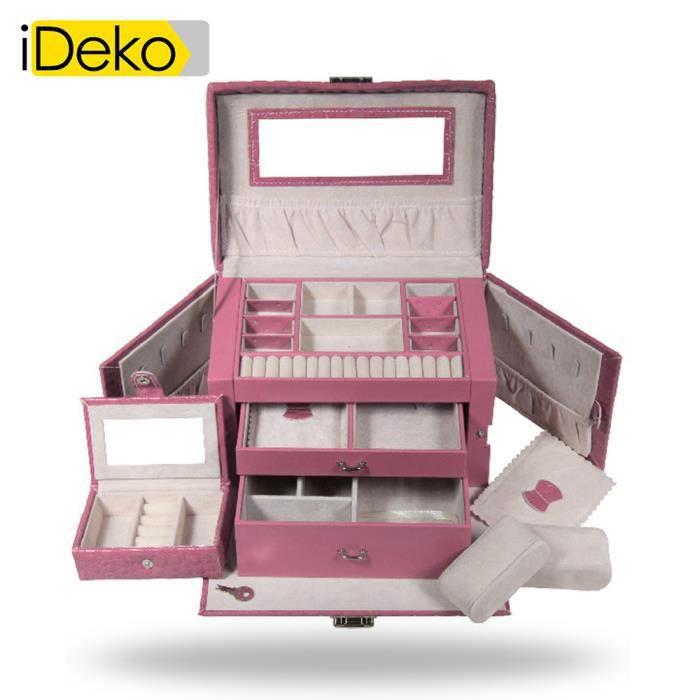 ideko coffret bijoux pu cuir 3 tages rose jolie bo te bijoux achat vente boite a bijoux. Black Bedroom Furniture Sets. Home Design Ideas