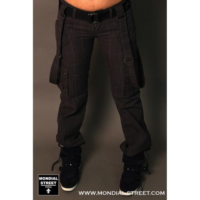 pantalon cargo femme ceinture bretelle by black de la. Black Bedroom Furniture Sets. Home Design Ideas