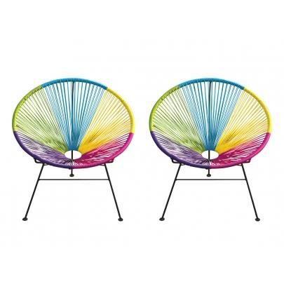 Lot de 2 chaises de jardin alios en fils de r sine tress s multicolore achat vente - Fauteuil en fil de resine ...