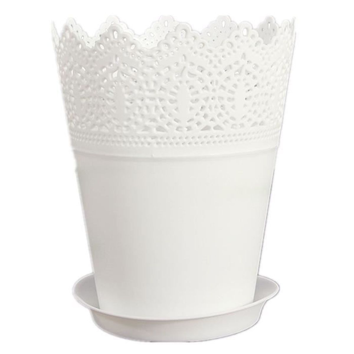 blanc couronne dentelle vase pot de fleurs en plastique. Black Bedroom Furniture Sets. Home Design Ideas