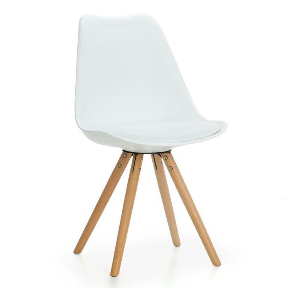 Mmilo inspir chaise de salle manger jambes bois massif for Chaise de salle a manger avec roulette