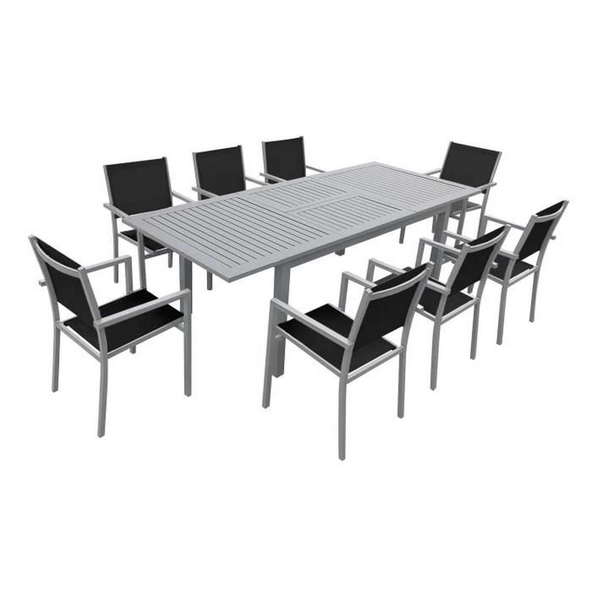 Salon de jardin capri extensible en textil ne noir 8 places aluminium gris - Salon de jardin a prix discount ...