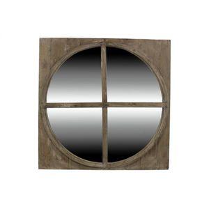 miroir ancien rond bois achat vente miroir bois cdiscount. Black Bedroom Furniture Sets. Home Design Ideas