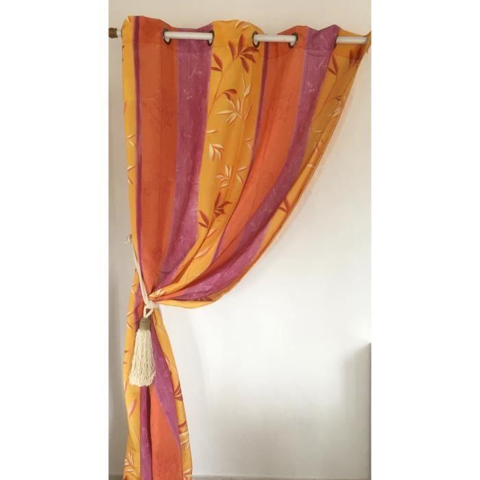 rideaux a oeillets imprim ton d 39 orange achat vente rideau cdiscount. Black Bedroom Furniture Sets. Home Design Ideas