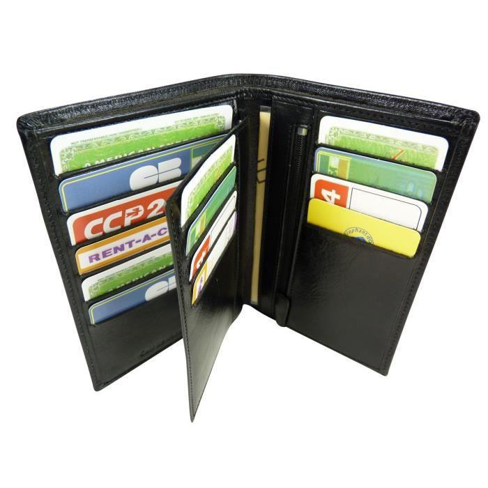 Portefeuille porte carte amovible en cuir de gris noir achat vente portefeuille - Portefeuille porte carte homme ...