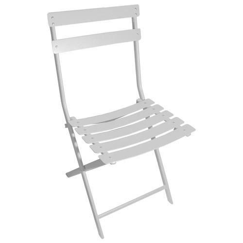 Chaise greensboro m tal blanc achat vente chaise for Chaise metal blanc
