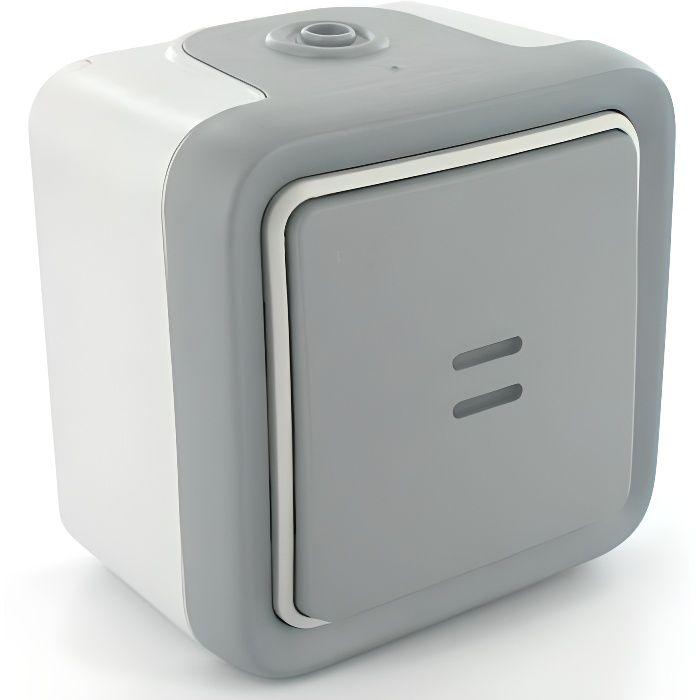 Legrand interrupteur poussoir no lumineux complet 10 ax plexo gris achat vente interrupteur - Bouton poussoir lumineux ...