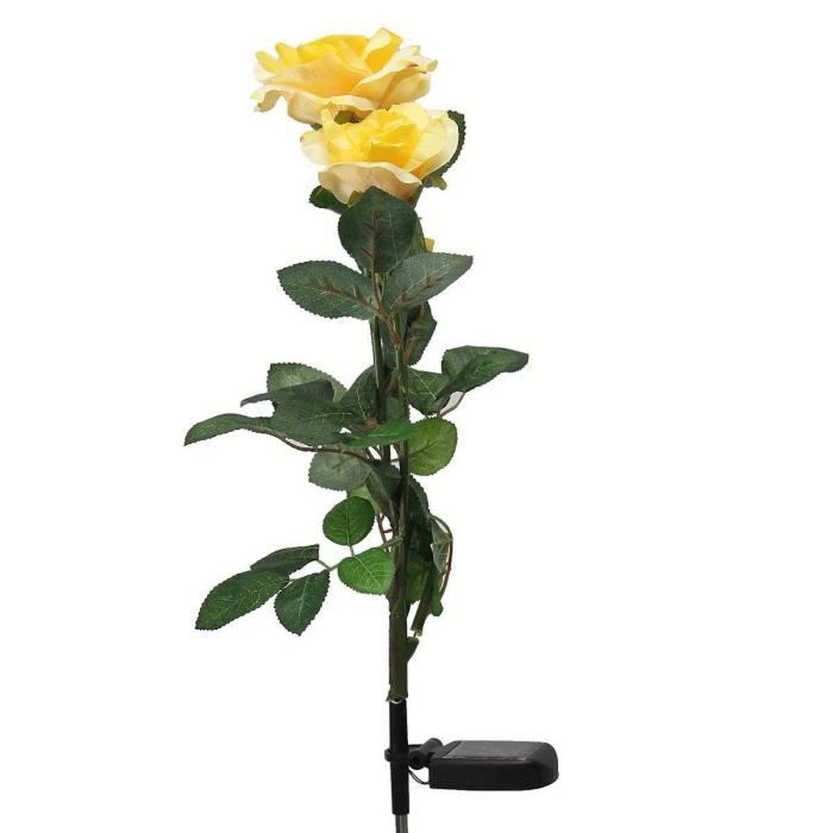 Solaire alimente jaune 3 led fleur rose lumieres jardin for Lumiere decorative exterieure