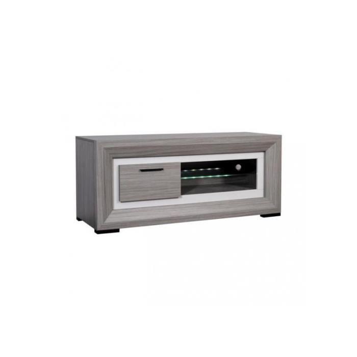 Meuble tv 140 cm coloris bois gris lina achat vente for Meuble tv gris bois