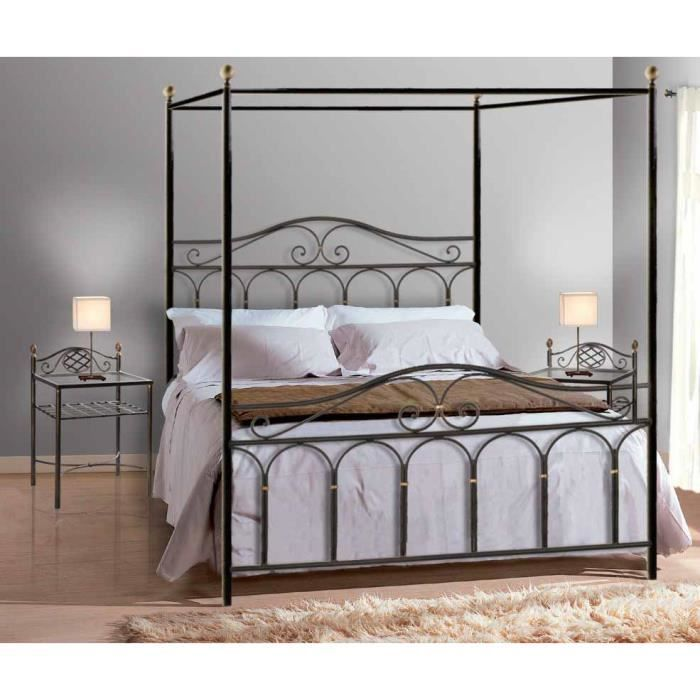 lit baldaquin en fer forg mod le afrique r achat vente structure de lit cdiscount. Black Bedroom Furniture Sets. Home Design Ideas