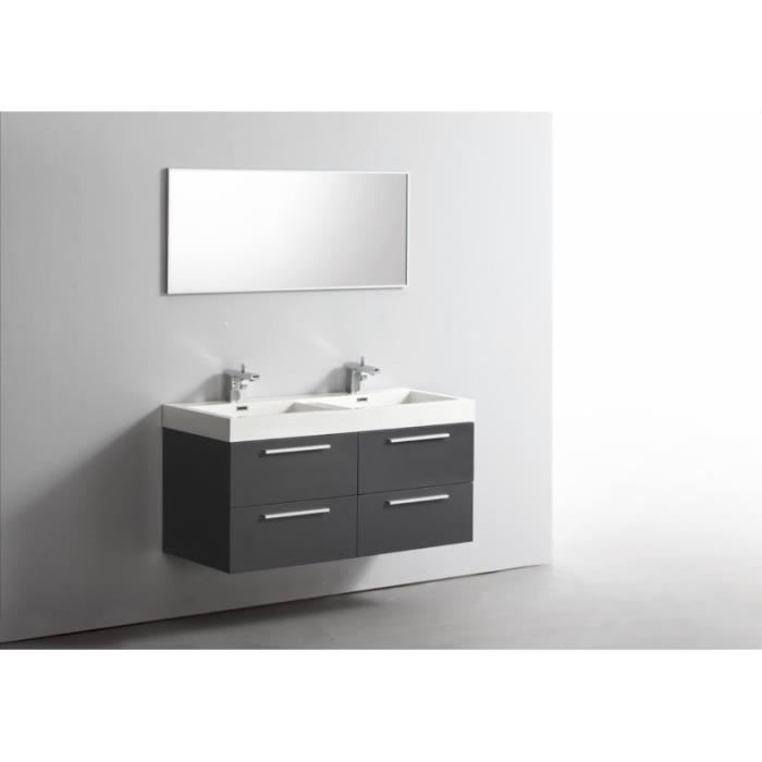 ensemble meuble salle de bains double vasque 120 cm ideo gris fonc laqu achat vente salle. Black Bedroom Furniture Sets. Home Design Ideas
