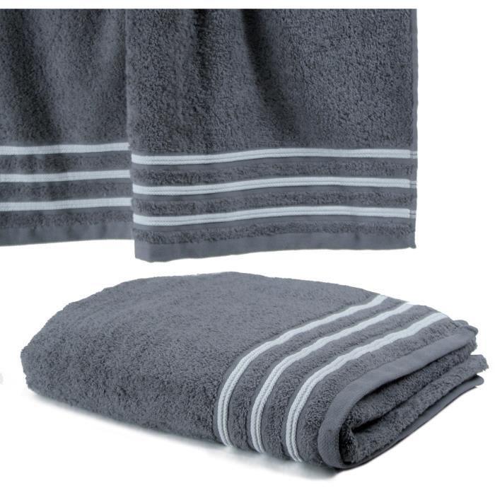 drap de douche 70x140 550gr gris blanc achat vente. Black Bedroom Furniture Sets. Home Design Ideas