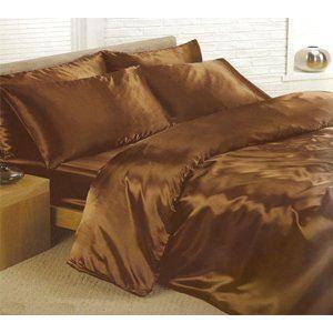 parure de lit satin 6 pcs chocolat lit 180 cm achat vente parure de drap cdiscount. Black Bedroom Furniture Sets. Home Design Ideas