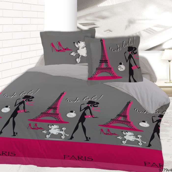 housse de couette le chic de paris 220x240 et 2 achat vente housse de couette cdiscount. Black Bedroom Furniture Sets. Home Design Ideas