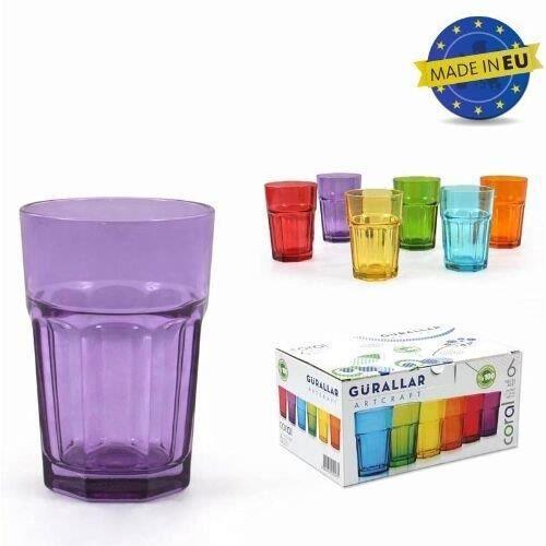 Lot de 6 verres à eau CORAL, couleurs assorties... - Achat ...