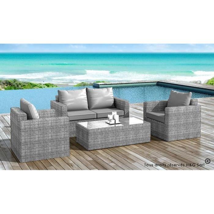 Salon de jardin en resine tressee grise coussins gris for Resine grise