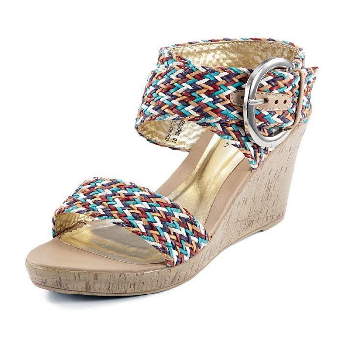 sandales tress es talon compen beige achat vente sandales tress es talon c pas cher. Black Bedroom Furniture Sets. Home Design Ideas