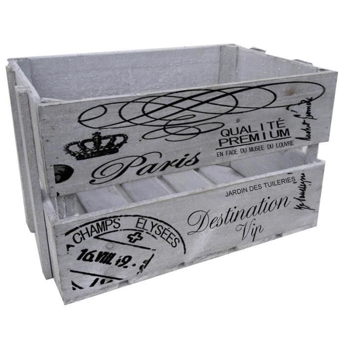caisse de rangement en bois teint paris achat vente. Black Bedroom Furniture Sets. Home Design Ideas