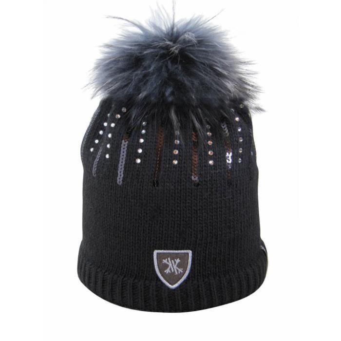 Bonnet noir KRISTO.Maille laine et acrylic.Ajout de sequins et paillettes fantaisies.Pompon fourrure véritable de très haute qualité.
