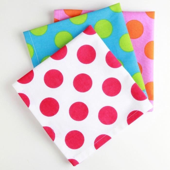 Lot 3 serviettes table pois achat vente serviette de - Presentation serviette de table ...