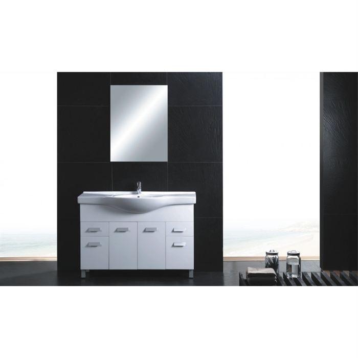 Meuble de salle de bain blanc luna achat vente meuble vasque plan meubl - C discount meuble salle de bain ...