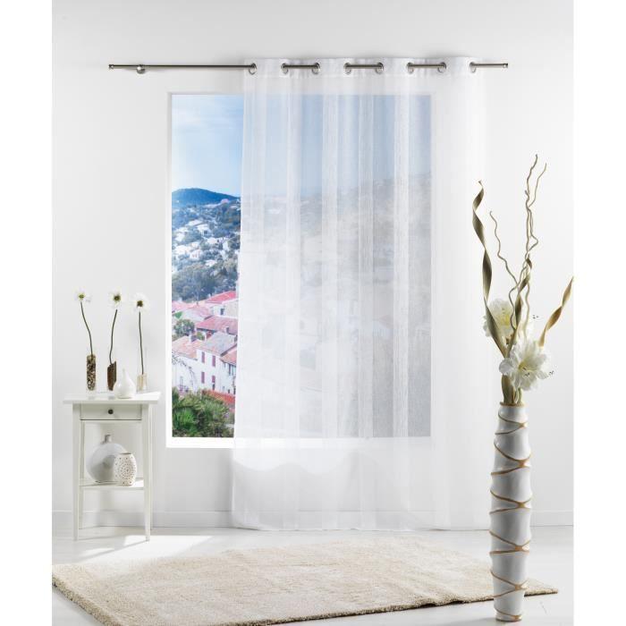 voilage oeillets 140x240 cm nes blanc achat vente rideau soldes d hiver d s le 6. Black Bedroom Furniture Sets. Home Design Ideas