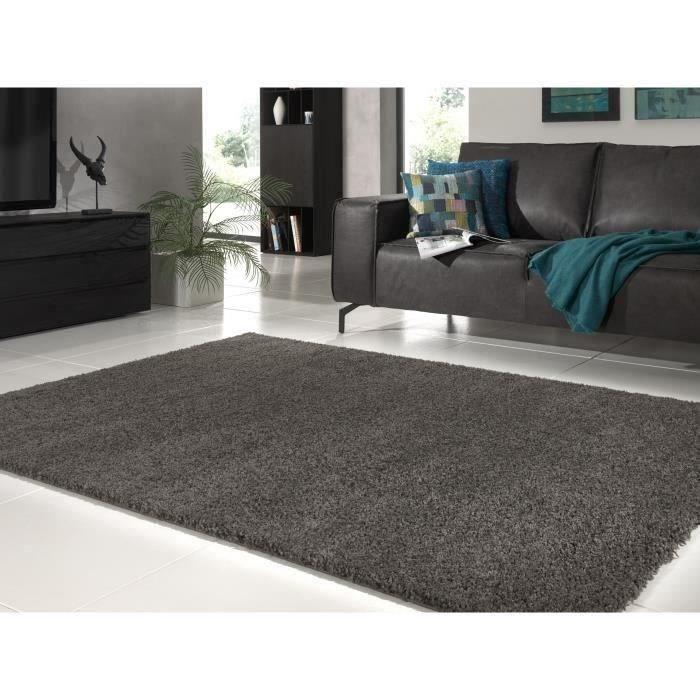 Tapis de salon Shaggy gris foncé 160x230 cm - Achat / Vente tapis ...