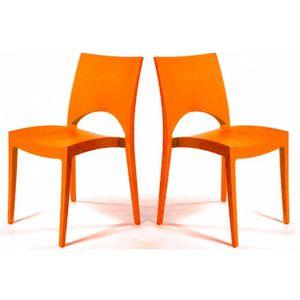 CHAISE Lot de 2 chaises design orange Venise