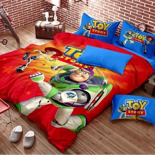 parure de lit toy story 160 210cm 3 pieces achat vente housse de couette cdiscount. Black Bedroom Furniture Sets. Home Design Ideas