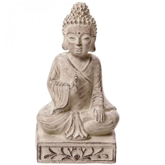 bouddha blanc de jardin statue sculpture 33cms achat vente statue statuette bouddha blanc. Black Bedroom Furniture Sets. Home Design Ideas