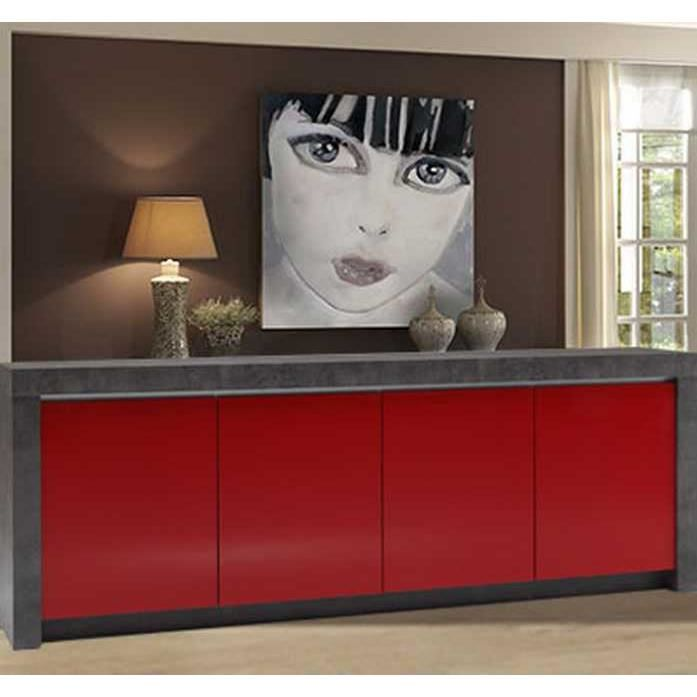 meuble contemporain b ton et laque rouge 39 colora 39 achat. Black Bedroom Furniture Sets. Home Design Ideas