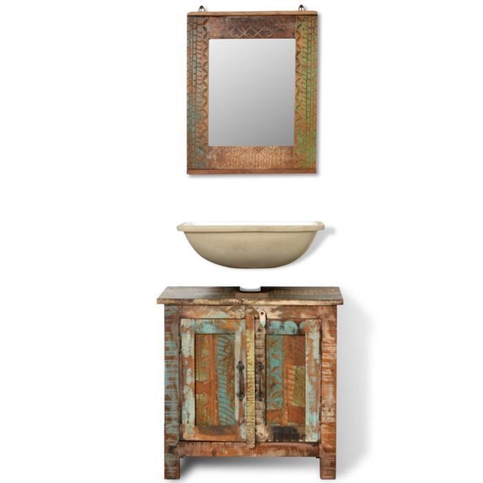 Meuble sous vasque en bois recycl et miroir achat for Meuble sous lavabo bois