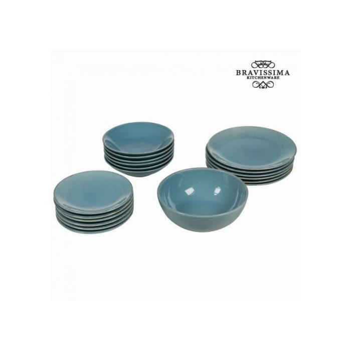 service vaisselle r tro 19 pi ces en fa ence bleue achat vente set vaisselle jetable cdiscount. Black Bedroom Furniture Sets. Home Design Ideas