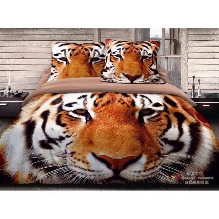 parure de lit la t te de tigre coton 200 230 cm 3d effet 4 piece achat vente housse de. Black Bedroom Furniture Sets. Home Design Ideas