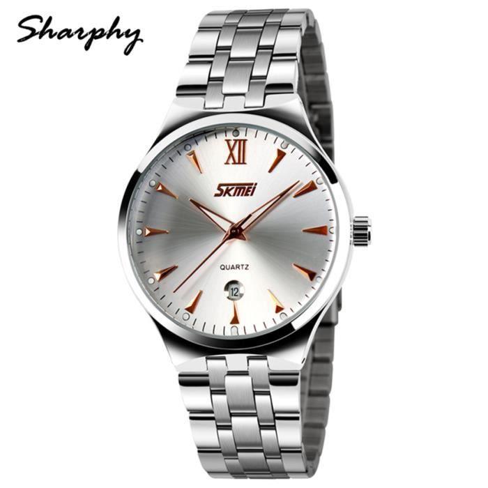 sharphy montre homme de marque bracelet en acier inoxydable lumineuses tanche quartz montres. Black Bedroom Furniture Sets. Home Design Ideas