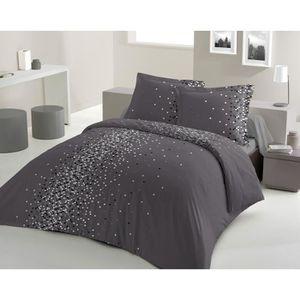 housse de couette gris achat vente housse de couette gris pas cher soldes cdiscount. Black Bedroom Furniture Sets. Home Design Ideas