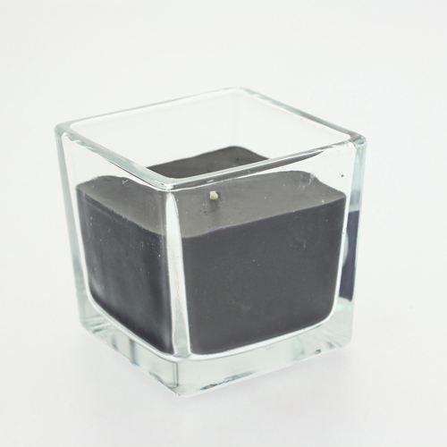 bougie en pot verre carr noir achat vente bougie verre soldes d t cdiscount. Black Bedroom Furniture Sets. Home Design Ideas