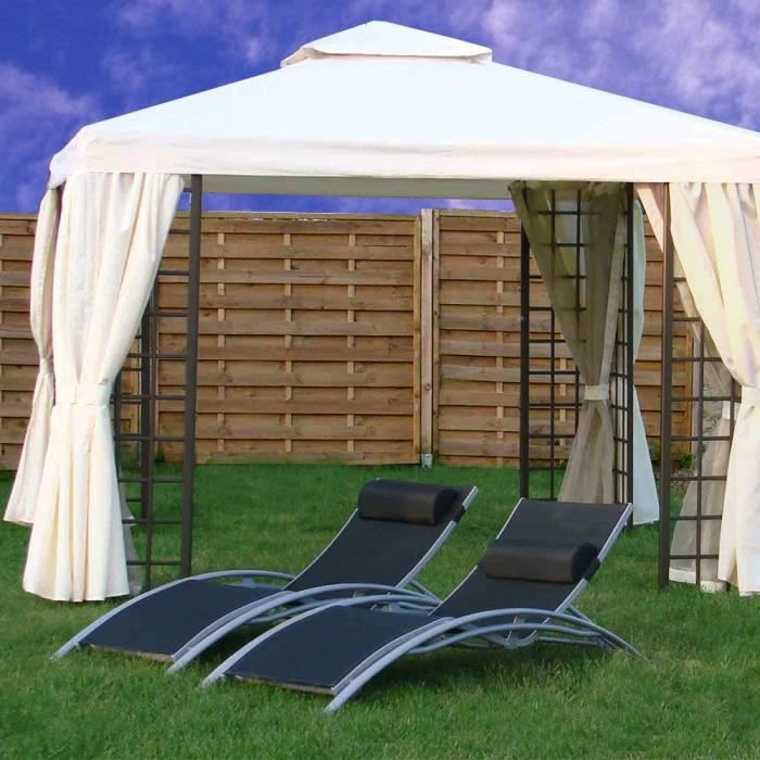 tonnelle aluminium 3 x 3 m ecru avec rideaux et moustiquaires achat vente tonnelle barnum. Black Bedroom Furniture Sets. Home Design Ideas