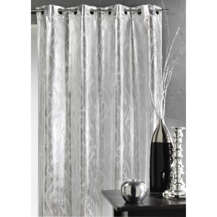 rideau aux impressions argent s argent 140 x 26 achat vente rideau cdiscount. Black Bedroom Furniture Sets. Home Design Ideas