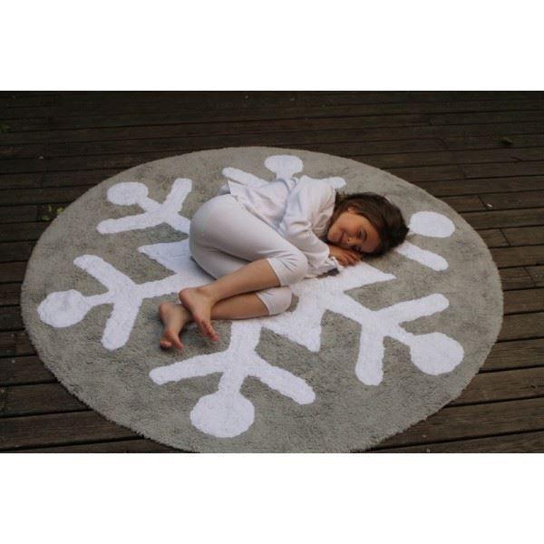 Tapis de sol enfant rond 140 cm flocon blanc et achat vente petit rangement 8435392603232 for Petit tapis rond