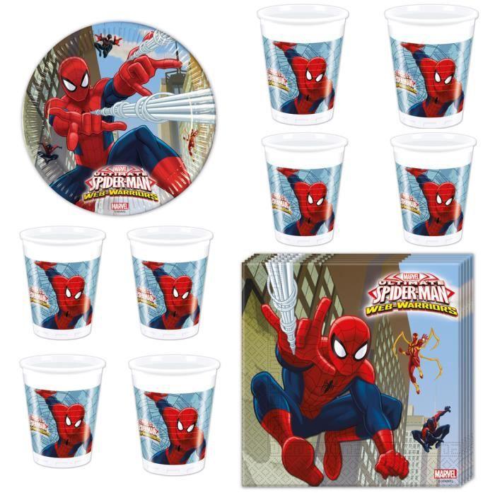 spiderman kit vaisselle jetable anniversaire et fete pour 8 enfants achat vente set. Black Bedroom Furniture Sets. Home Design Ideas