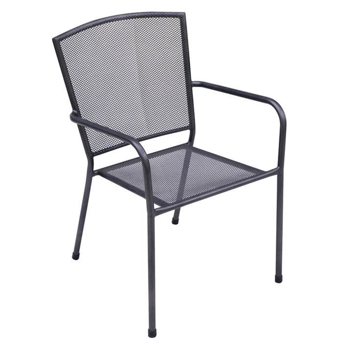 Chaise de jardin empilable en fer forg coloris gris for Chaise jardin fer forge