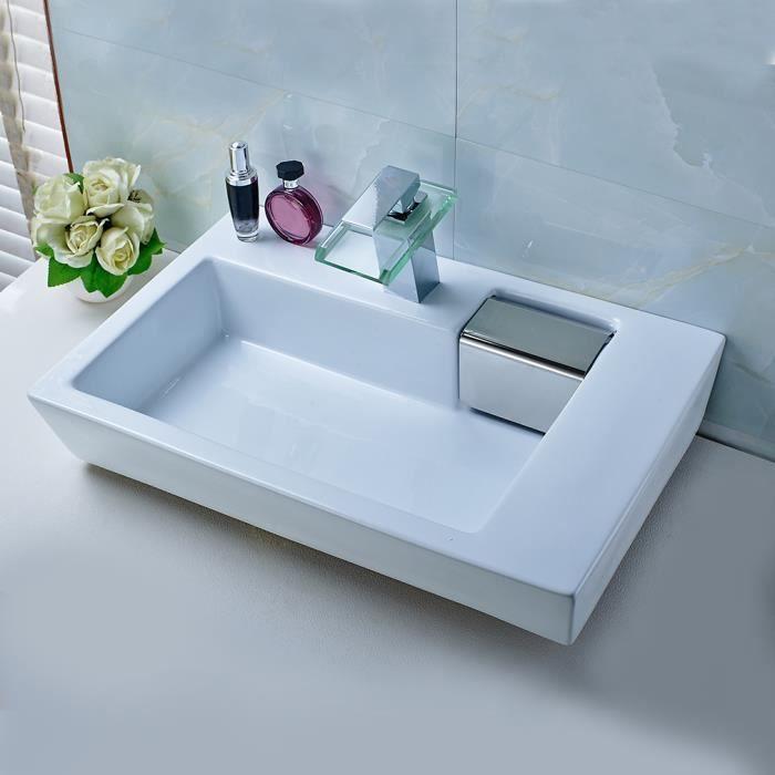 Aruhe lavabo de salle de bain vasque poser vier en for Lavabo salle de bain rectangulaire