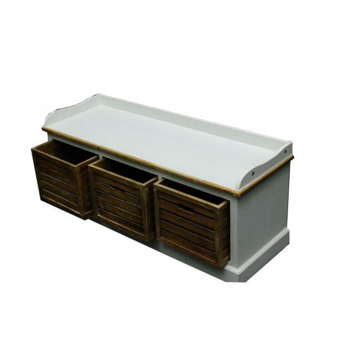 banc edelweiss 3 tiroirs achat vente banc blanc soldes d hiver d s le 6 janvier cdiscount. Black Bedroom Furniture Sets. Home Design Ideas