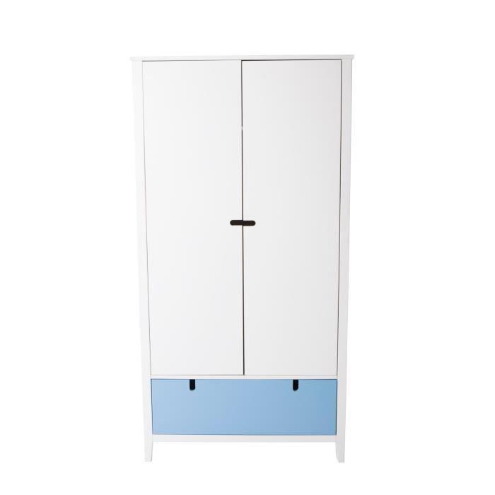 Carla armoire tiroir r versible 92cm bleu rose achat for Armoire tiroir chambre