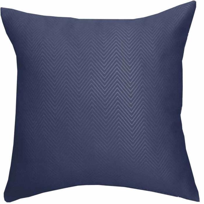 coussin d houssable bleu marine motif chevron 45 x 45 cm achat vente housse de coussin. Black Bedroom Furniture Sets. Home Design Ideas