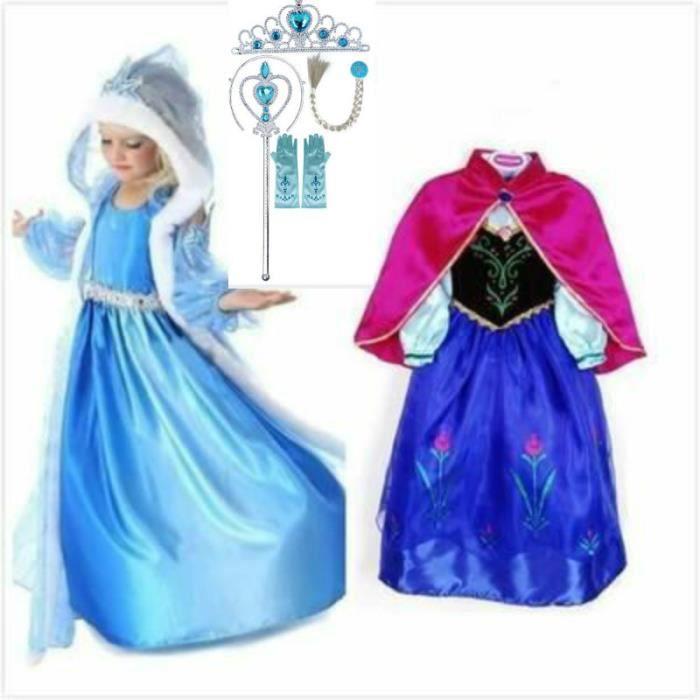 dguisement panoplie kit deux robe elsa et anna reine des neiges3 acce